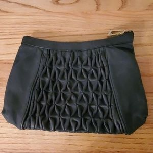 Large black leather 7 for all mankind clutch